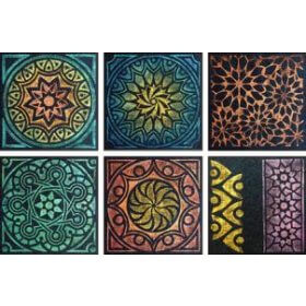 Rubbing Plate 16.5cm x 16.5cm Set of 6 - Kaleidoscope